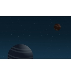 Planet and star on outer space landscape vector