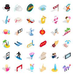 Pleasure icons set isometric style vector