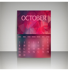 Polygonal 2016 calendar design for OCTOBER vector
