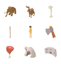 Prehistoric hunting icons set isometric style vector