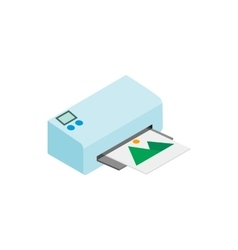 Printer icon in isometric 3d style vector
