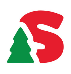 Red letter s with fir clip art christmas vector
