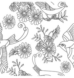seamless pattern bird and flowers vector image