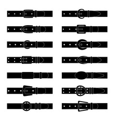 set black silhouettes belts vector image