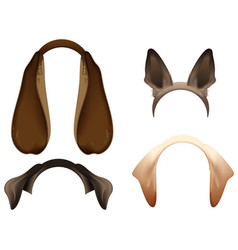 set dog ears mask isolated on white vector image