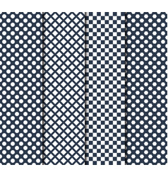 Set four seamless patterns with circle lines vector