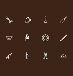 Set of 12 editable apparatus outline icons vector