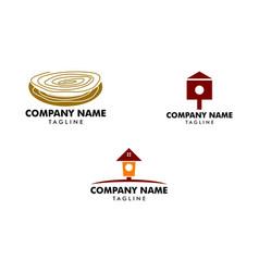 set of bird house logo vector image