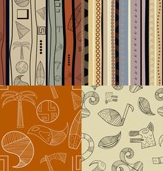 Set of fullcolor patterns primitive tribal pattern vector image