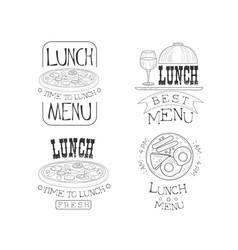 set of hand drawn lunch logos fresh and vector image