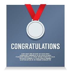 Silver Medal With Congratulations Card vector