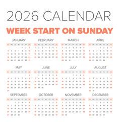simple 2026 year calendar vector image vector image