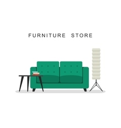 Sofa with table and lamp vector image
