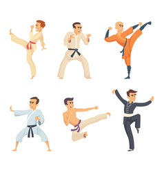 sport fighters in action poses cartoon characters vector image