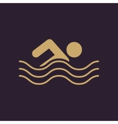 Swimming icon Swimmer symbol Flat vector image