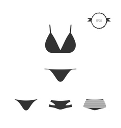 Swimsuit simple icons set isolated on white vector
