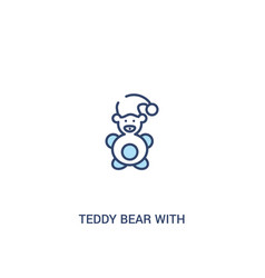 Teddy bear with sleep hat concept 2 colored icon vector