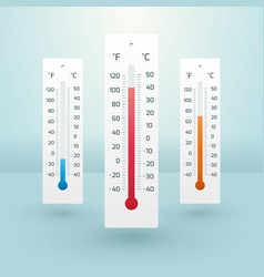 three thermometers with different temperatures vector image