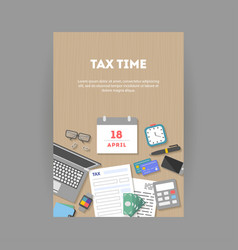 Vertical banner with icons paying taxes vector