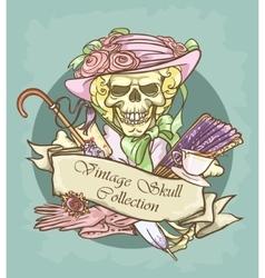Victorian skull label vector
