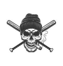 vintage gangster skull in beanie hat vector image