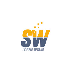 Yellow blue sw s w alphabet letter logo company vector