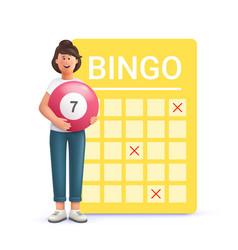 Young woman jane playing bingo lottery money vector