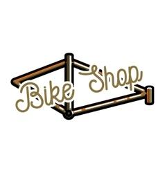 Color vintage bike shop emblem vector image