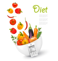 Fruit in a bowl with a nutritional labelConcept of vector image vector image