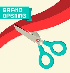 Grand Opening with Scissors and Ribbon vector image vector image