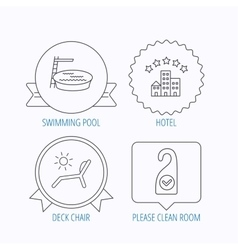 Hotel swimming pool and beach deck chair icons vector image vector image