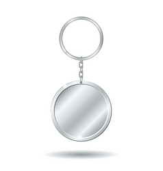 silver keychain circle shape vector image vector image