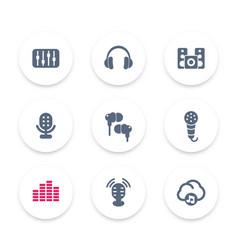audio icons equalizer sound mixing headphones vector image
