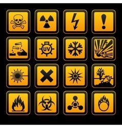 hazard symbols orange s sign on black background vector image vector image