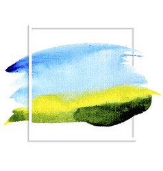watercolor background blue sky green field vector image