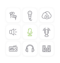 audio line icons set sound mixer earbuds vector image vector image