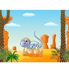 Cartoon mom dinosaur and baby dinosaurs hatching vector image vector image