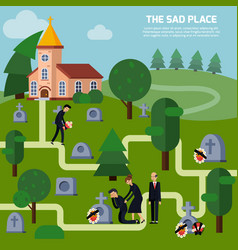 cemetery flat style vector image vector image