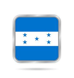 flag of honduras metallic gray square button vector image vector image