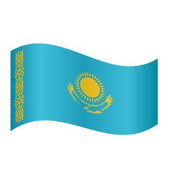 flag of kazakhstan waving on white background vector image vector image