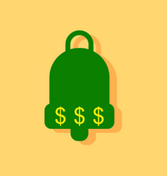 flat icon design collection bell with dollar vector image vector image