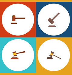 flat icon hammer set of tribunal defense court vector image vector image