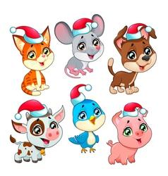 Funny Christmas farm animals vector image vector image
