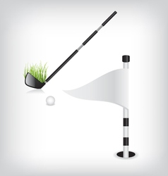 Golf stick and flag vector image