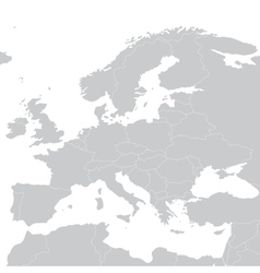 Grey political map of Europe vector image