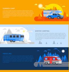 recreational vehicles banner set vector image vector image