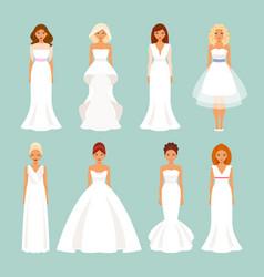 set of brides in wedding dresses vector image