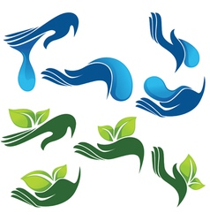 collection of eco and beauty symbols vector image vector image