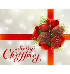 Merry Christmas Greeting card with red ribbon vector image vector image
