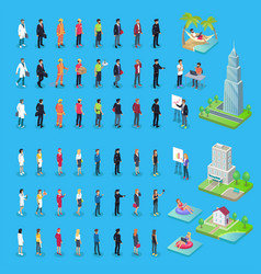 people of various professions and buildings set vector image
